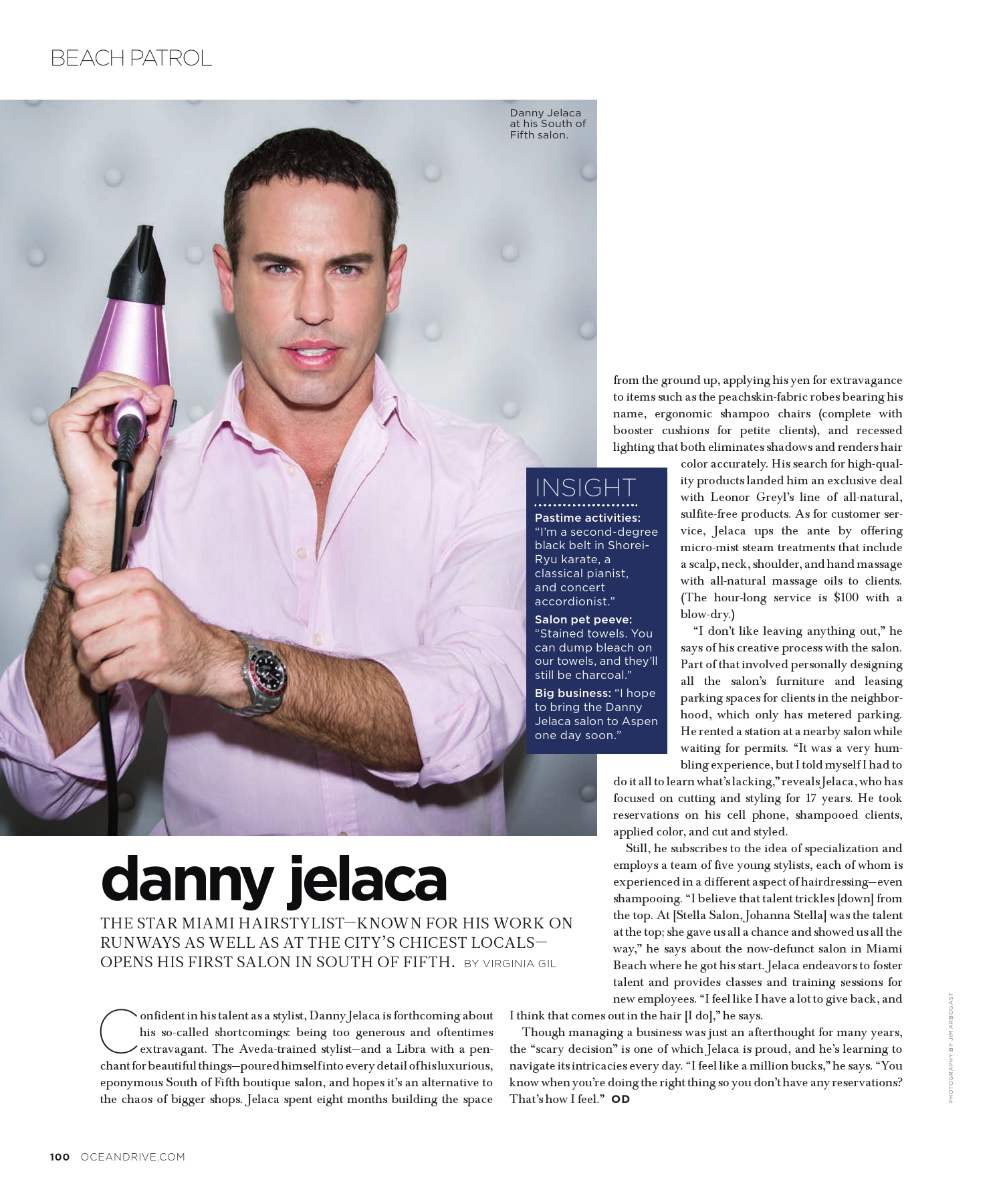Danny Jelaca on Beach Patrol in Ocean Drive Magazine