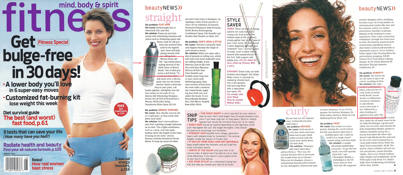 Fitness Magazine with Danny's Hair Tip's For Straight and Curly