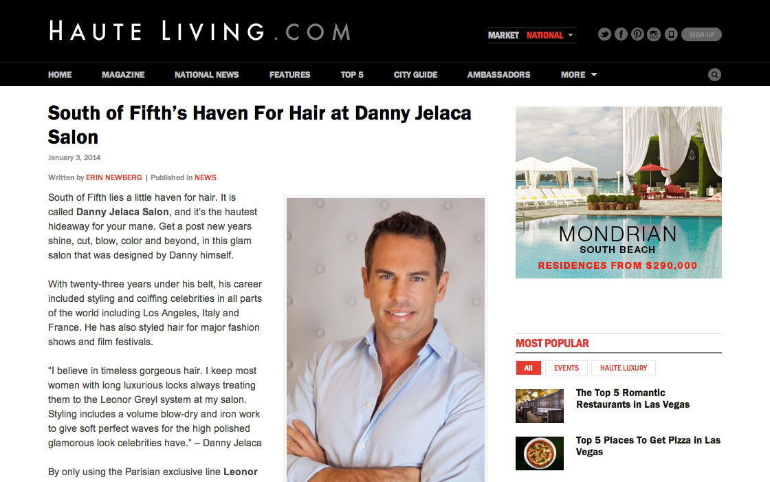 Danny Jelaca Salon in Haute Living