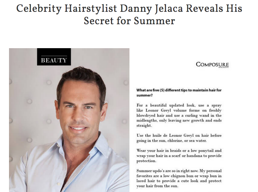 Celebrity Hairstylist Danny Jelaca Reveals Secret in Composure Magazine