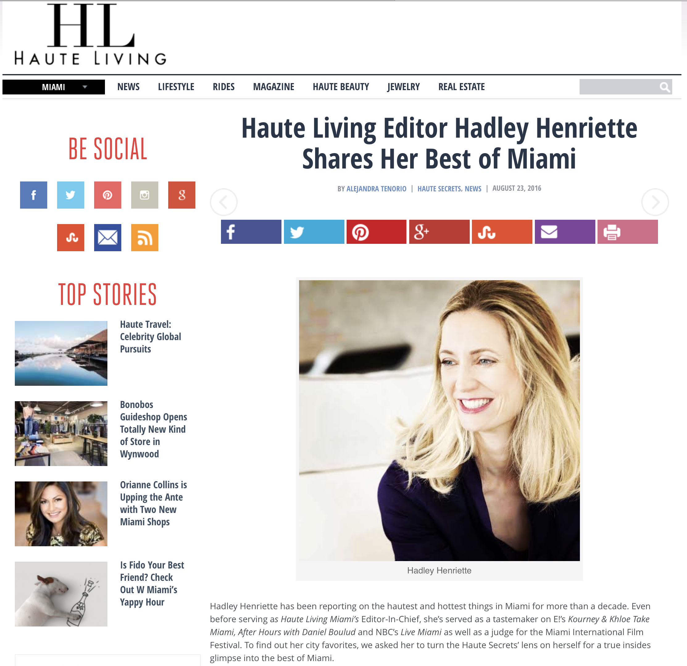 Haute Living Editor Hadley Henriette's favorite Miami Salon