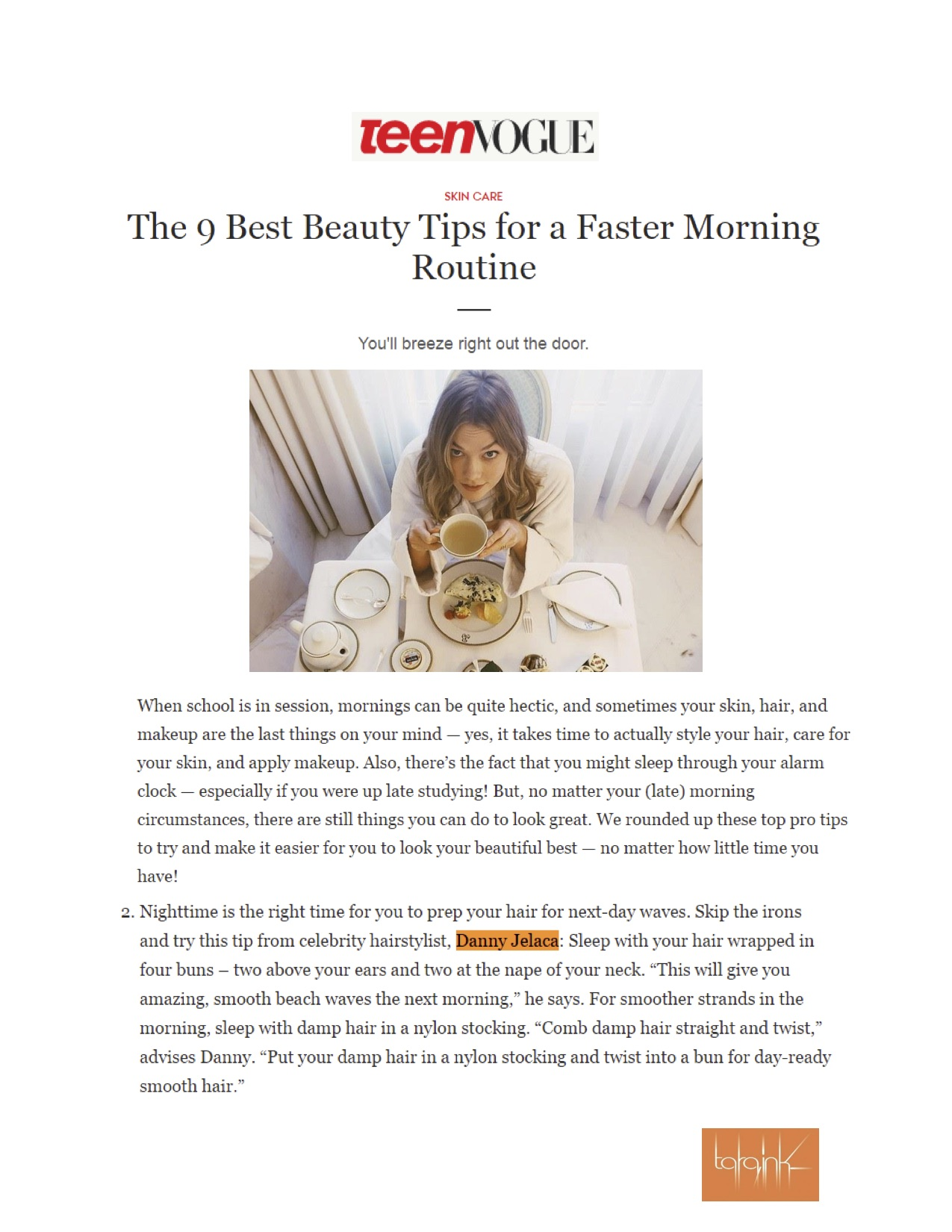 Teen Vogue features Danny Jelaca for Morning Beauty Tips